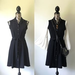 Vintage button front belted midi dress